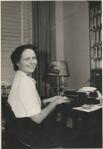 Lucy at typewriter